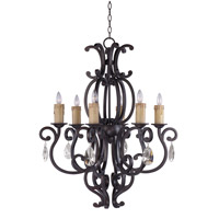 Richmond 6 Light 31 inch Colonial Umber Single Tier Chandelier Ceiling Light in With Crystals (083), Without Shade