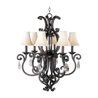 Richmond 6 Light 31 inch Colonial Umber Single Tier Chandelier Ceiling Light in With Crystals (083), With Shade (62)