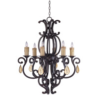 Richmond 6 Light 31 inch Colonial Umber Single Tier Chandelier Ceiling Light in With Crystals (094), Without Shade