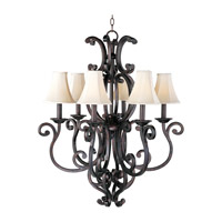 Richmond 6 Light 31 inch Colonial Umber Single Tier Chandelier Ceiling Light in Without Crystals, With Shade (62)