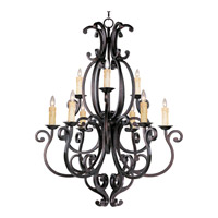 Richmond 9 Light 38 inch Colonial Umber Multi-Tier Chandelier Ceiling Light in Without Crystals, Without Shade