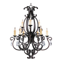 Richmond 9 Light 38 inch Colonial Umber Multi-Tier Chandelier Ceiling Light in With Crystals (083), Without Shade