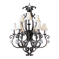 Richmond 9 Light 38 inch Colonial Umber Multi-Tier Chandelier Ceiling Light in With Crystals (083), With Shade (62)