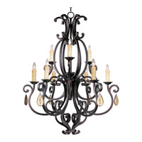 Richmond 9 Light 38 inch Colonial Umber Multi-Tier Chandelier Ceiling Light in With Crystals (094), Without Shade
