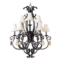 Richmond 9 Light 38 inch Colonial Umber Multi-Tier Chandelier Ceiling Light in With Crystals (094), With Shade (62)