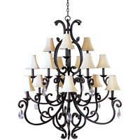 Maxim 31007CU/CRY085/SHD62 Richmond 15 Light 51 inch Colonial Umber Multi-Tier Chandelier Ceiling Light in With Crystals (085), With Shade (62) photo thumbnail