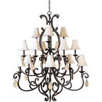 Richmond 15 Light 51 inch Colonial Umber Multi-Tier Chandelier Ceiling Light in With Crystals (095), With Shade (62)