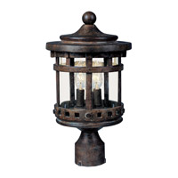 Santa Barbara DC 3 Light 19 inch Sienna Outdoor Pole/Post Lantern