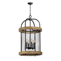 Maxim 32387DWBK Lancaster 6 Light 21 inch Driftwood and Black Multi-Light Pendant Ceiling Light
