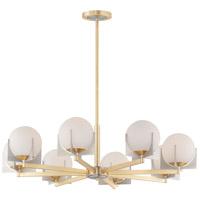 Maxim 32476SWSBRBP Finn 8 Light 36 inch Satin Brass and Brushed Platinum Chandelier Ceiling Light