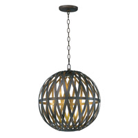 Weave LED 25 inch Bronze Gilt and Gold Single Pendant Ceiling Light