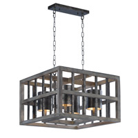 Cottage 4 Light 24 inch Weathered Wood Single Pendant Ceiling Light