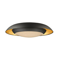 Iris LED 24 inch Gold Leaf and Black Flush Mount Ceiling Light
