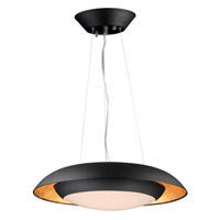 Iris LED 24 inch Gold Leaf and Black Single Pendant Ceiling Light