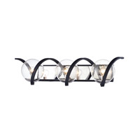 Curlicue 3 Light 30 inch Black and Polished Nickel Bath Vanity Wall Light