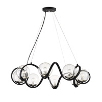 Curlicue 8 Light 35 inch Black and Polished Nickel Multi-Light Pendant Ceiling Light