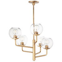 Maxim 38415CLNAB Branch 5 Light 27 inch Natural Aged Brass Chandelier Ceiling Light