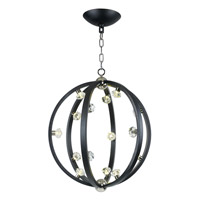 Equinox LED LED 25 inch Textured Black and Polished Nickel Pendant Ceiling Light