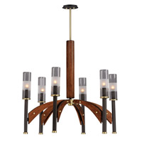 Maxim 39516CLBZAP Merge 6 Light 29 inch Bronze and Antique Pecan Chandelier Ceiling Light
