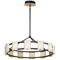 Maxim 39536CYBKGL Radiant LED 35 inch Black and Gold Leaf Chandelier Ceiling Light