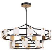 Maxim 39538CYBKGL Radiant LED 42 inch Black and Gold Leaf Chandelier Ceiling Light