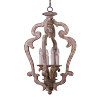 Olde World 4 Light 20 inch Senora Wood Foyer Pendant Ceiling Light