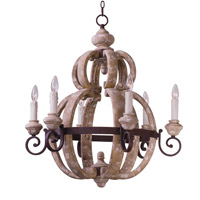 Maxim 39605SW Olde World 6 Light 28 inch Senora Wood Single-Tier Chandelier Ceiling Light