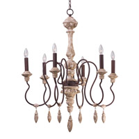 Maxim 39607SW Olde World 6 Light 30 inch Senora Wood Single-Tier Chandelier Ceiling Light