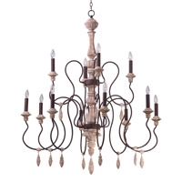 Olde World 12 Light 44 inch Senora Wood Multi-Tier Chandelier Ceiling Light in Without Shade
