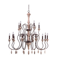 Olde World 15 Light 30 inch Senora Wood Multi-Tier Chandelier Ceiling Light in Without Shade, 30 in.