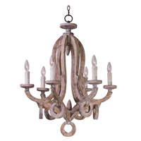 Olde World 6 Light 24 inch Senora Wood Single-Tier Chandelier Ceiling Light