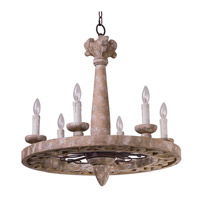 Olde World 6 Light 26 inch Senora Wood Single-Tier Chandelier Ceiling Light