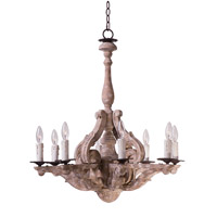 Olde World 8 Light 27 inch Senora Wood Single-Tier Chandelier Ceiling Light