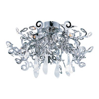 Maxim Lighting Tempest 5 Light Flush Mount in Polished Nickel 39841PN/CRY150