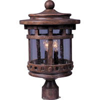 Maxim 40036CDSE Santa Barbara VX 3 Light 16 inch Sienna Outdoor Pole/Post Lantern