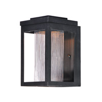 Maxim 55902CRBK Salon LED LED 10 inch Black Outdoor Wall Sconce in Clear Ribbed
