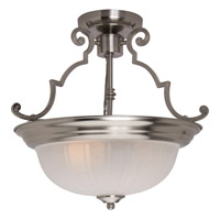 Signature 2 Light 15 inch Satin Nickel Semi Flush Mount Ceiling Light