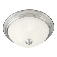 Signature 1 Light 12 inch Satin Nickel Flush Mount Ceiling Light in Marble