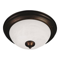 Signature 3 Light 16 inch Oil Rubbed Bronze Flush Mount Ceiling Light in Marble