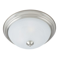Signature 3 Light 16 inch Satin Nickel Flush Mount Ceiling Light in Marble