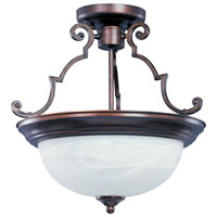 Signature 2 Light 15 inch Oil Rubbed Bronze Semi Flush Mount Ceiling Light in Marble