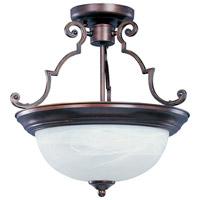 Maxim 5843MROI Essentials - 584x 2 Light 15 inch Oil Rubbed Bronze Semi Flush Mount Ceiling Light in Marble