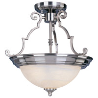 Signature 2 Light 15 inch Satin Nickel Semi Flush Mount Ceiling Light in Marble