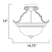 Maxim 5843WSOI Signature 2 Light 15 inch Oil Rubbed Bronze Semi Flush Mount Ceiling Light in Wilshire alternative photo thumbnail