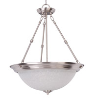 Maxim 5846ICSN Essentials - 584x 3 Light 20 inch Satin Nickel Invert Bowl Pendant Ceiling Light in Ice