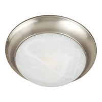 Maxim 5850MRSN Signature 1 Light 12 inch Satin Nickel Flush Mount Ceiling Light in Marble