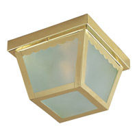 Signature 2 Light 10 inch Antique Brass Outdoor Ceiling Mount