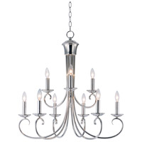 Maxim 70006PN Loft 9 Light 30 inch Polished Nickel Multi-Tier Chandelier Ceiling Light