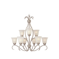 Maxim Lighting Basix Energy Efficient 9 Light Multi-Tier Chandelier in Satin Nickel 85128ICSN