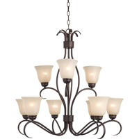 Basix Energy Efficient 9 Light 32 inch Oil Rubbed Bronze Multi-Tier Chandelier Ceiling Light